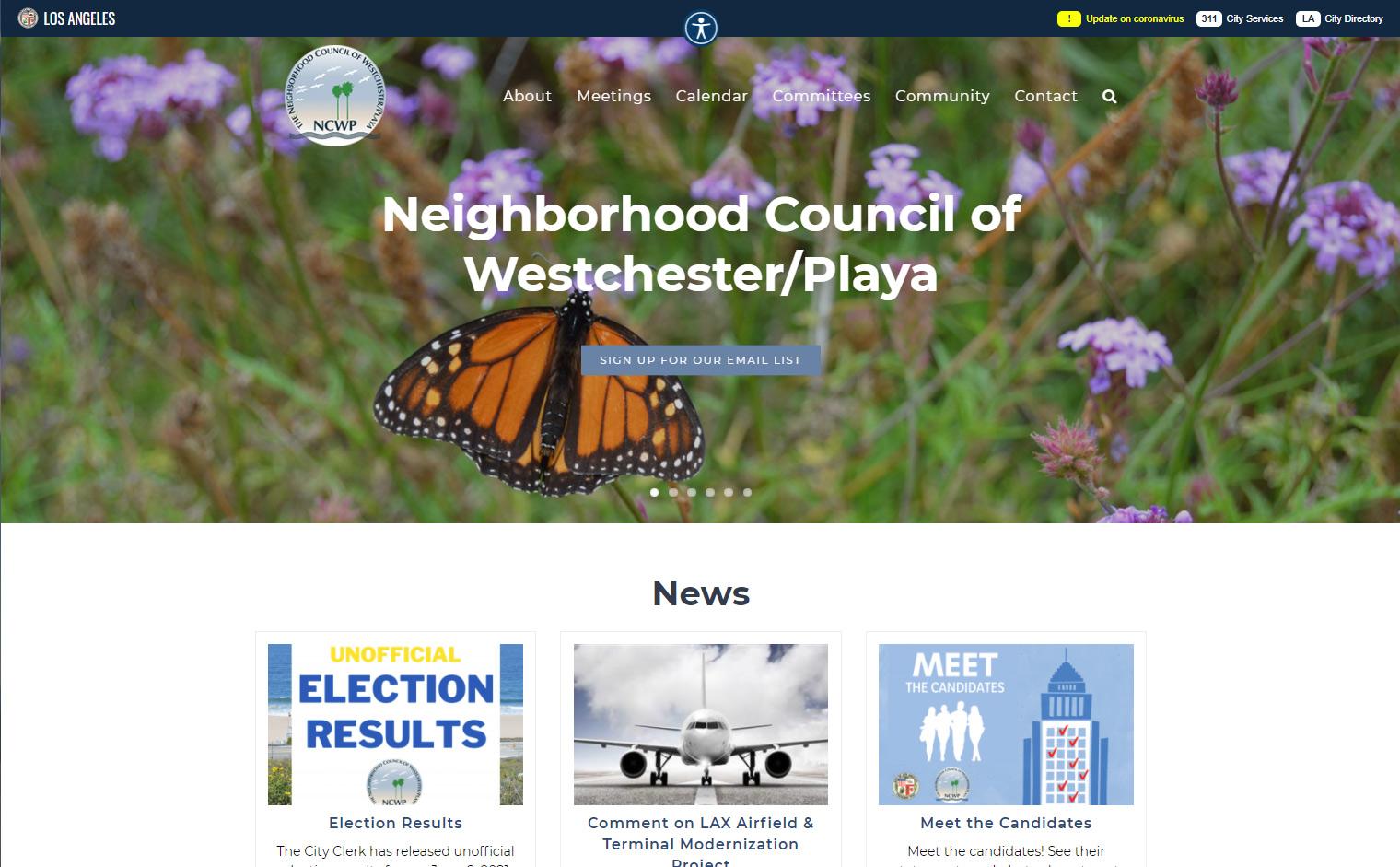 Neighborhood Council Westchester Playa Website