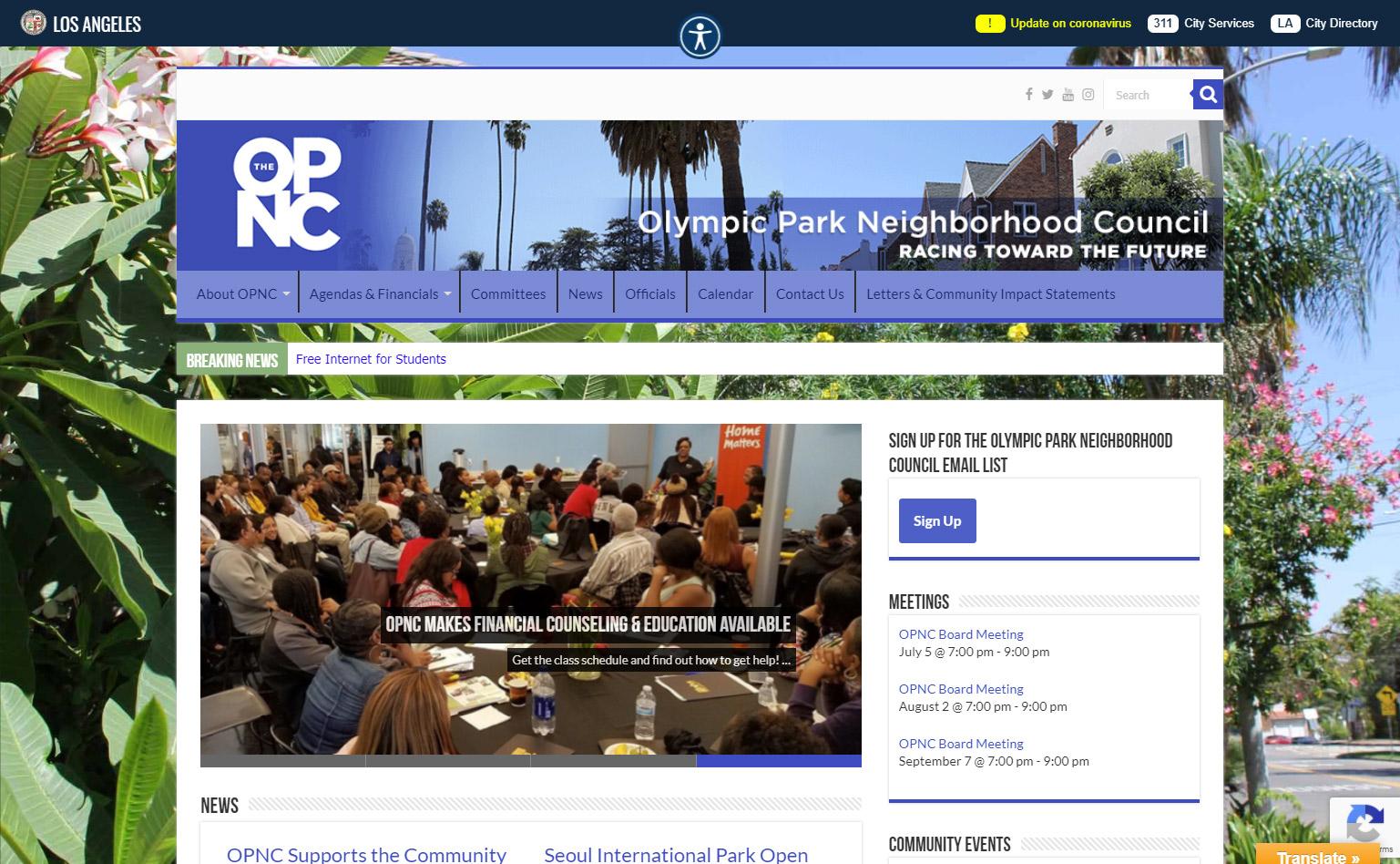 Olympic Park Neighborhood Council Website