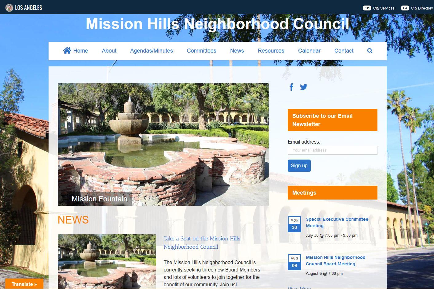 Mission Hills Neighborhood Council Website