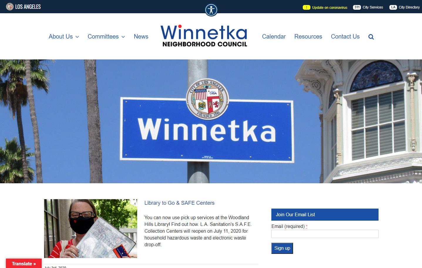 Winnetka Neighborhood Council Website