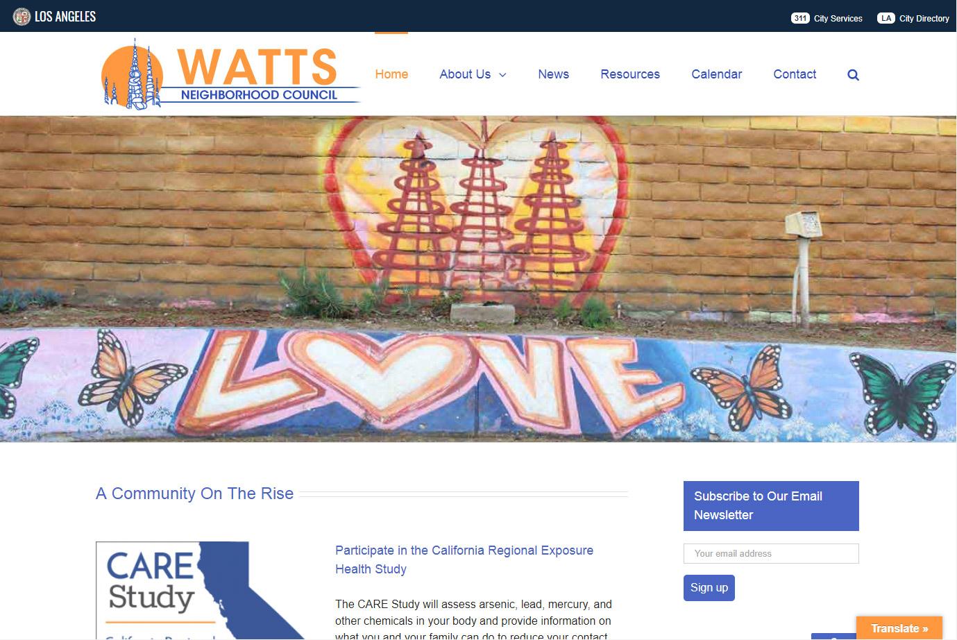Watts Neighborhood Council site with LOVE mural