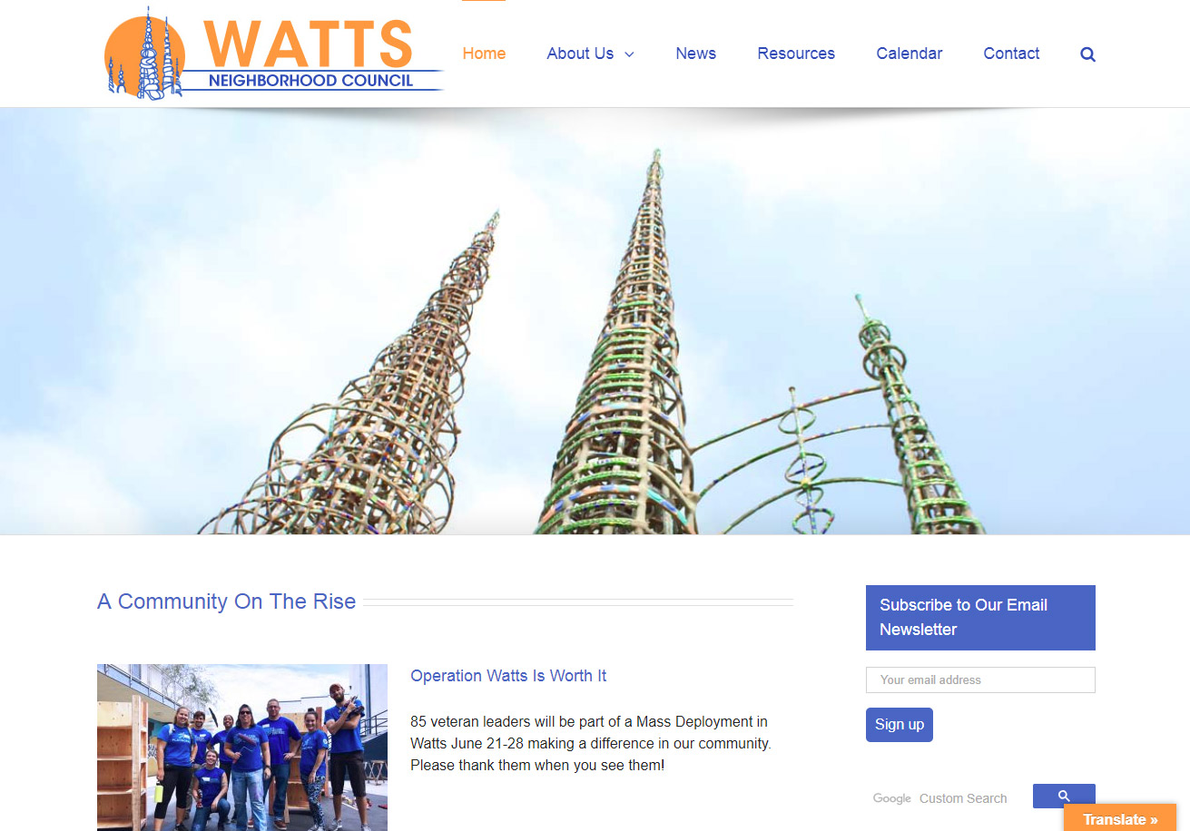 Watts Neighborhood Council home page with Watts Towers